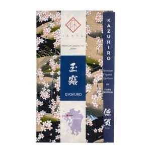 Japanese green tea bag wrapped in traditional Japanese washi paper for a premium grade organic gyokuro from Saga, Japan, named 'KAZUHIRO'. The package is made of a washi sheet, a washi obi and inner information sheet.